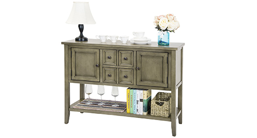 Mecor Sideboards and Storage Cabinet White Kitchen Buffet Cabinet Server Table with 2 Sliding Doors//1 Shelf Dining Room Furniture